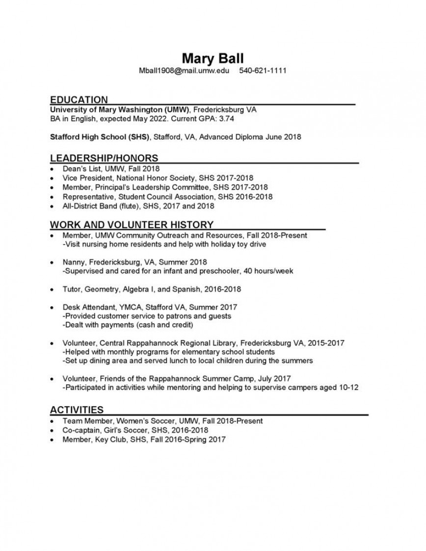 008 Dreaded College Freshman Resume Template Image 868