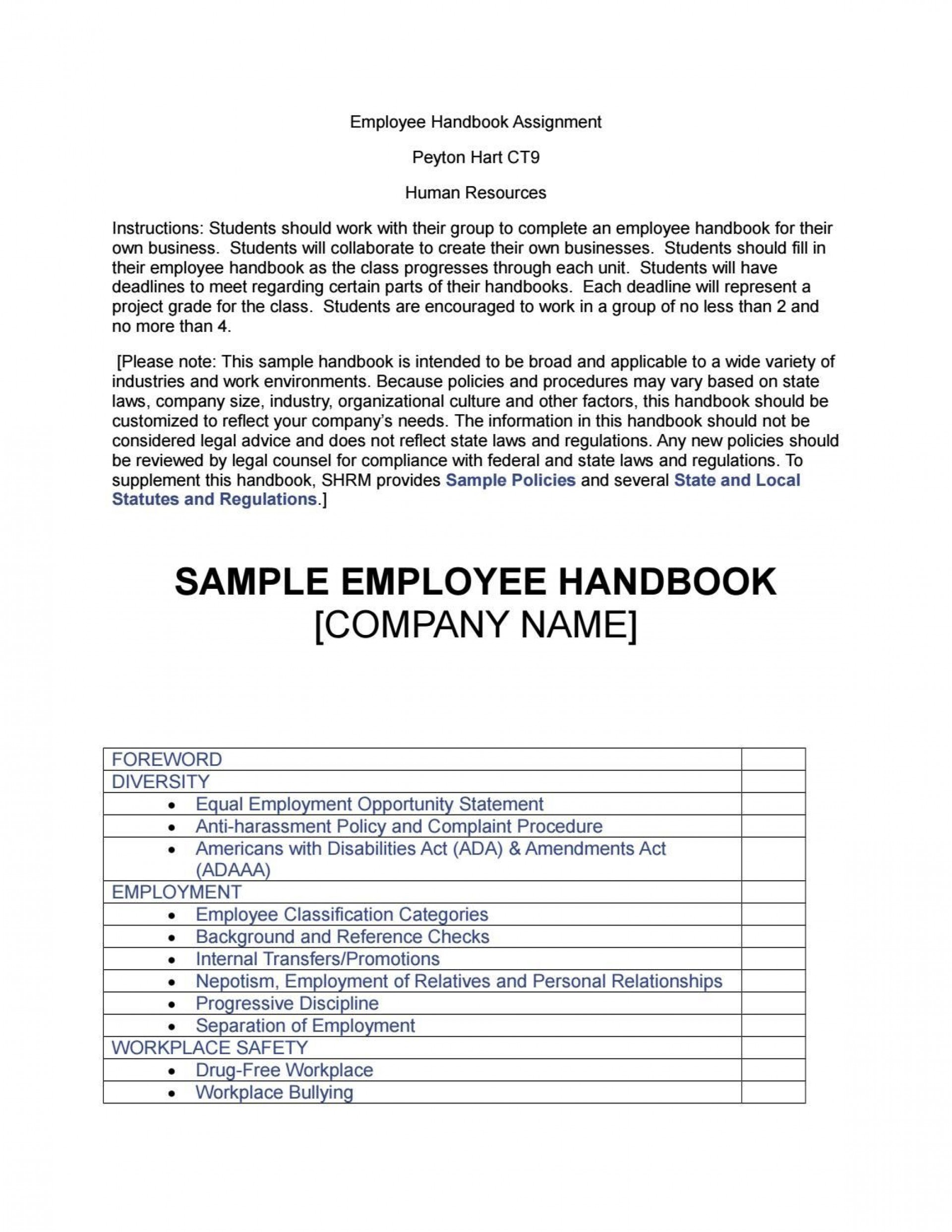 008 Dreaded Employee Handbook Template Free Photo  Restaurant Download Induction Manual Sample In Singapore1920