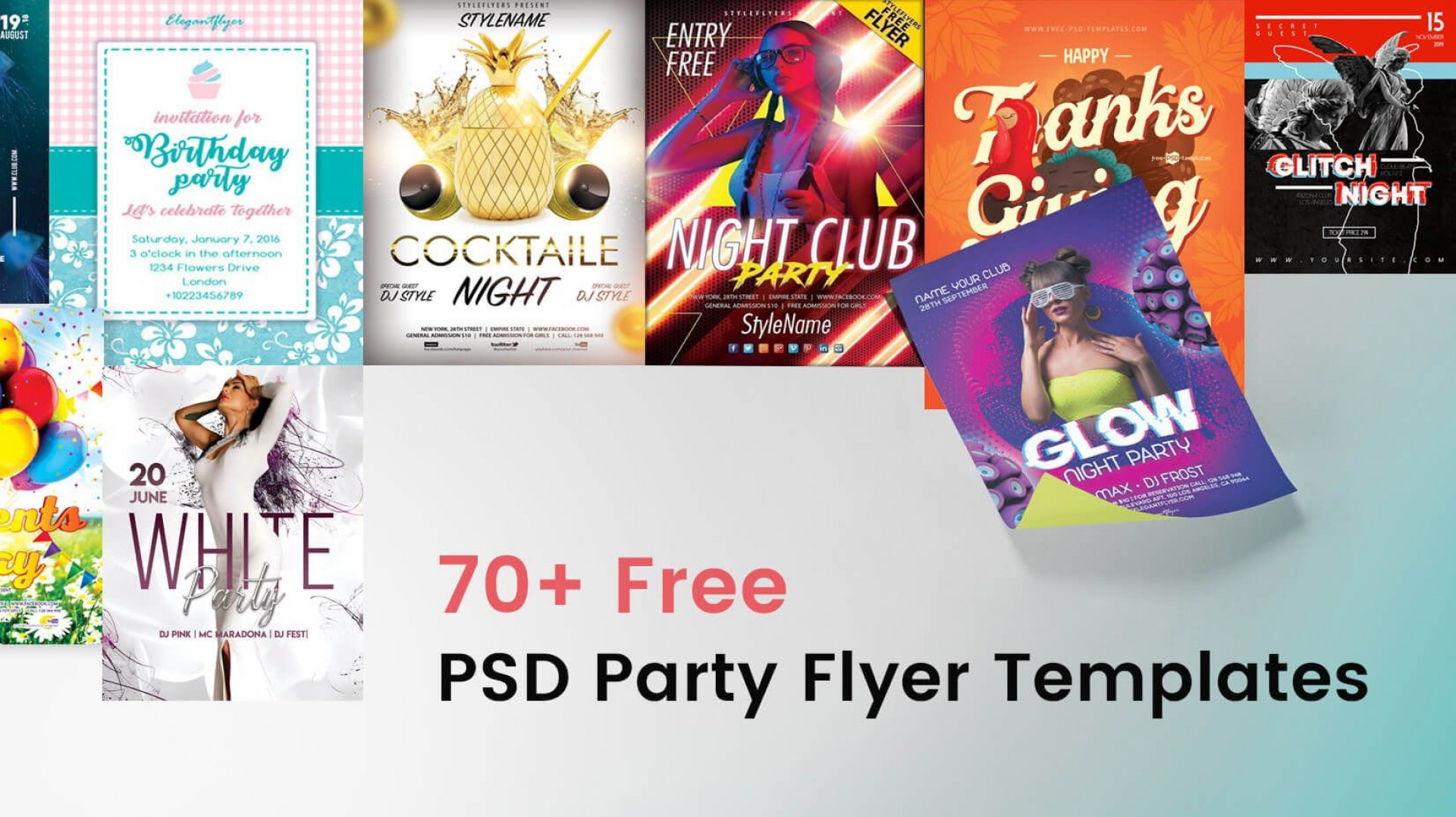 008 Dreaded Free Birthday Flyer Template Psd Picture  Foam Party - Neon Glow Download Pool1920