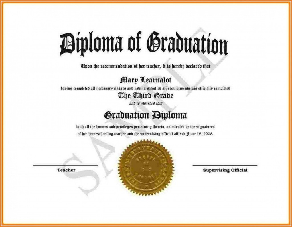 008 Dreaded Free Printable High School Diploma Template Resolution  With SealLarge