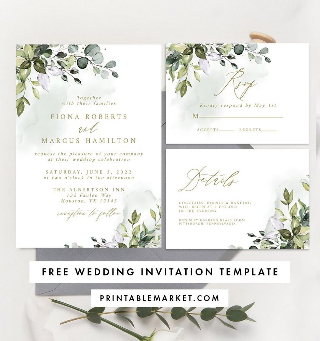 008 Dreaded Free Wedding Invitation Template Printable Sample  For Microsoft Word MacLarge