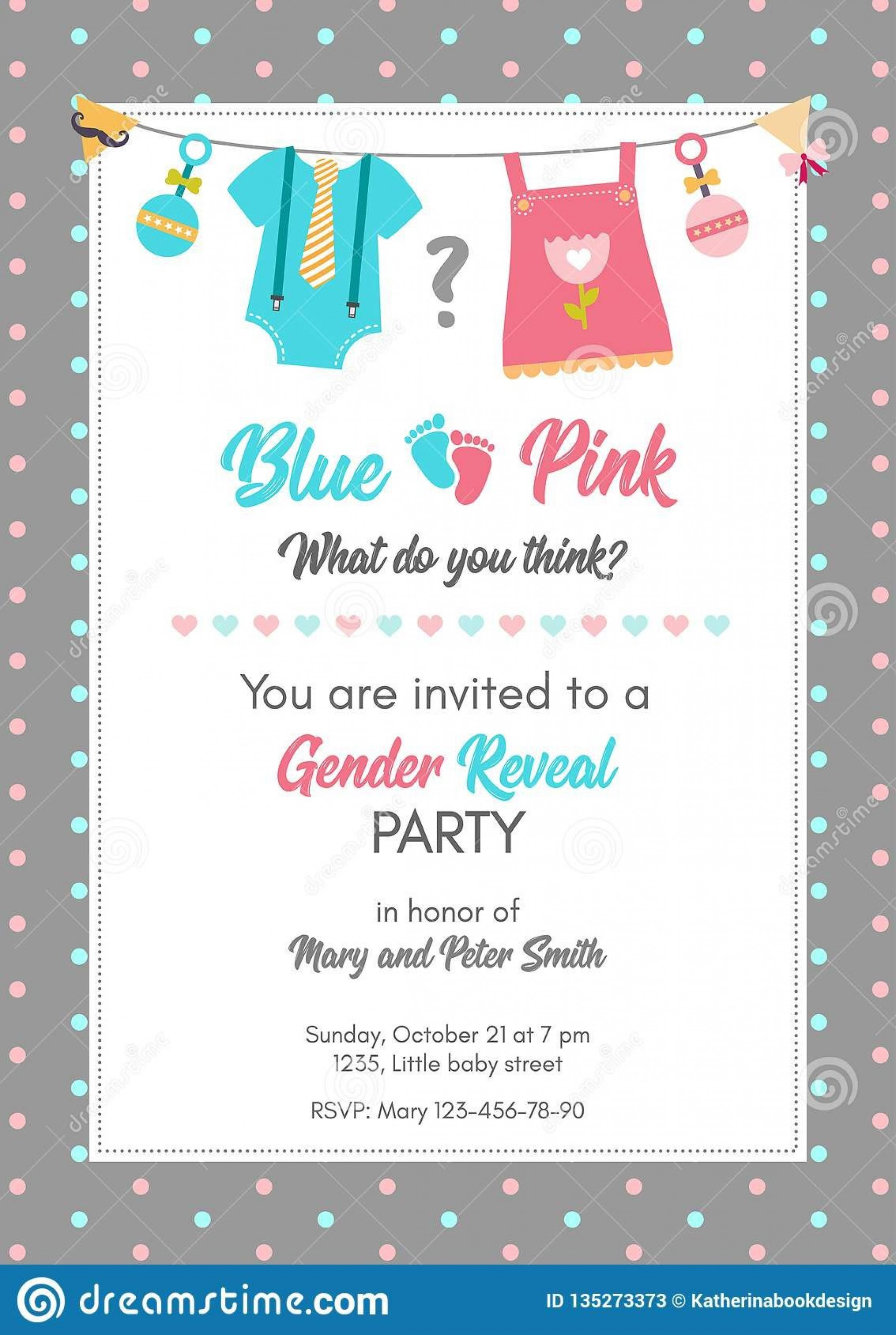 008 Dreaded Gender Reveal Invitation Template Image  Templates Party Free Printable Maker1920