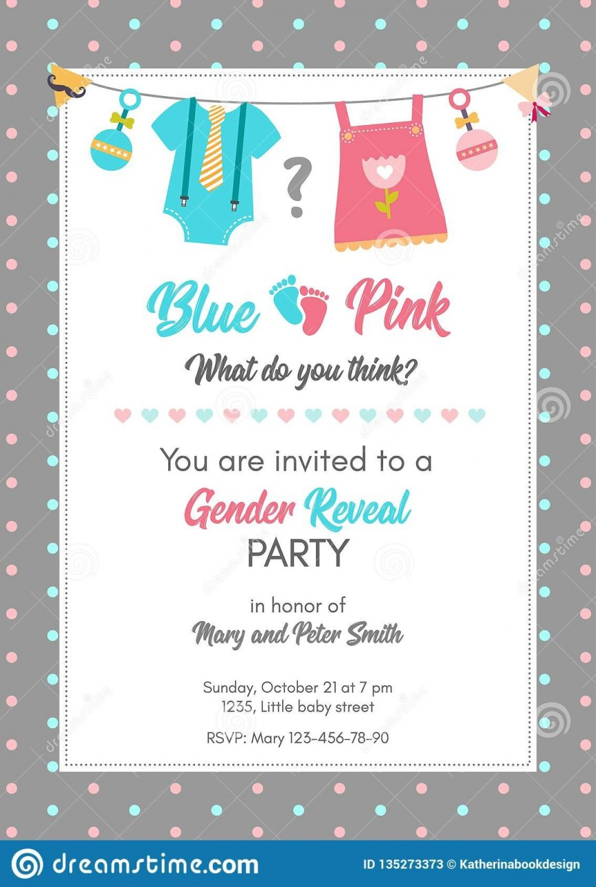 008 Dreaded Gender Reveal Invitation Template Image  Templates Maker Free Printable