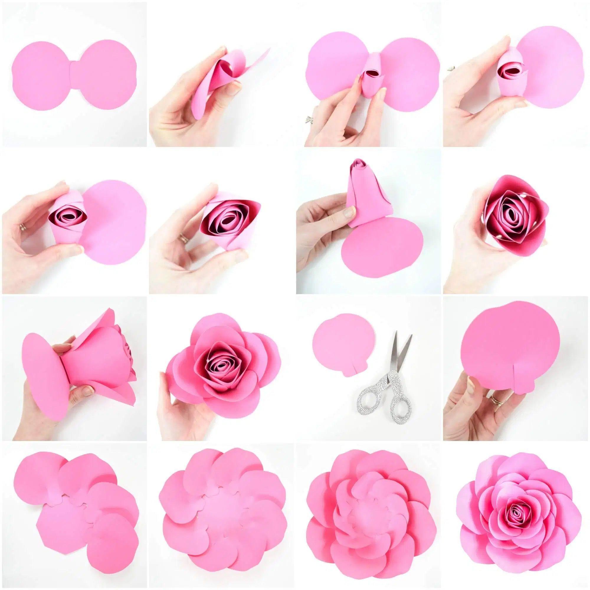 008 Dreaded Paper Rose Template Pdf Concept  Flower Giant Free CrepeFull