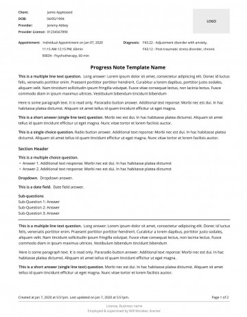008 Dreaded Therapist Progres Note Example Picture  Counseling Template Psychotherapy Sample Psychological360