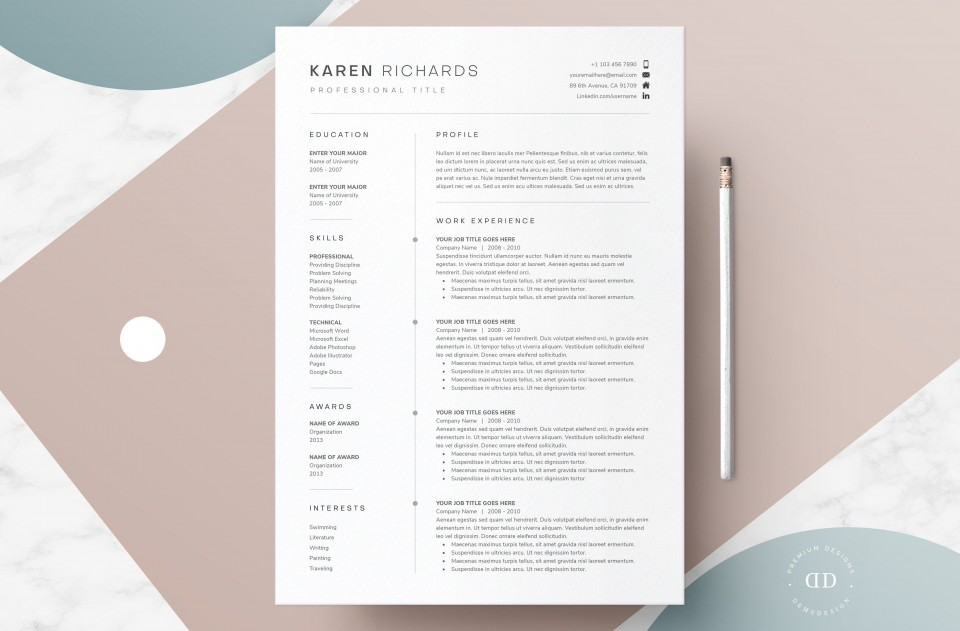 008 Excellent 1 Page Resume Template Highest Clarity  One Microsoft Word Free For Fresher960