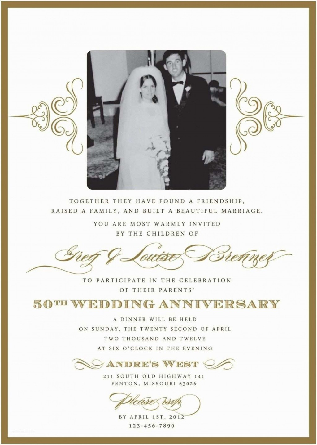 008 Excellent 50th Wedding Anniversary Invitation Template Microsoft Word Example  FreeLarge