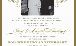 008 Excellent 50th Wedding Anniversary Invitation Template Microsoft Word Example  Free