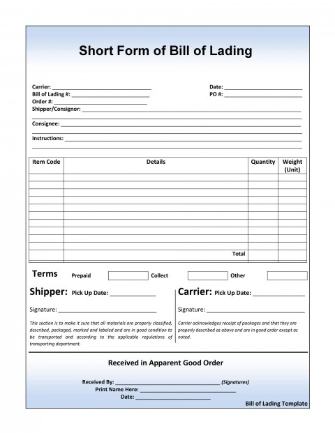 008 Excellent Bill Of Lading Short Form Word High Definition  Template480