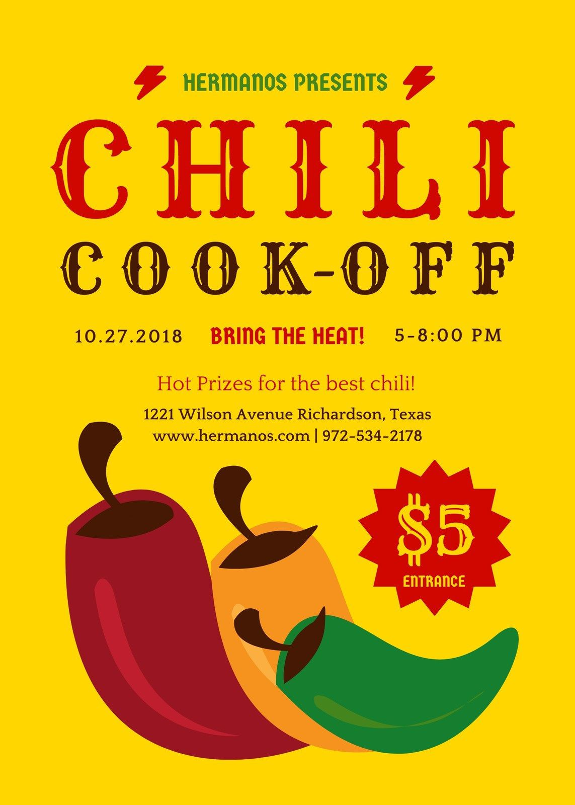 008 Excellent Chili Cook Off Flyer Template Example  Halloween Office PowerpointFull