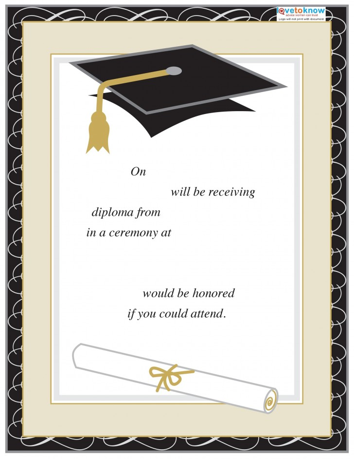 008 Excellent College Graduation Invitation Template Highest Quality  Party Free For Word728