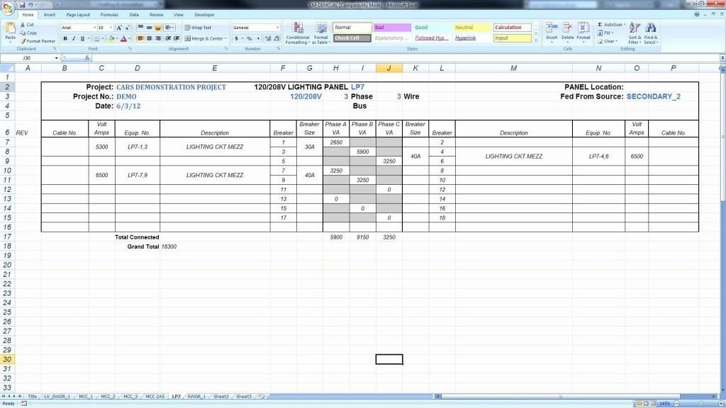 008 Excellent Electrical Panel Schedule Template Excel High Definition  Load Single PhaseLarge