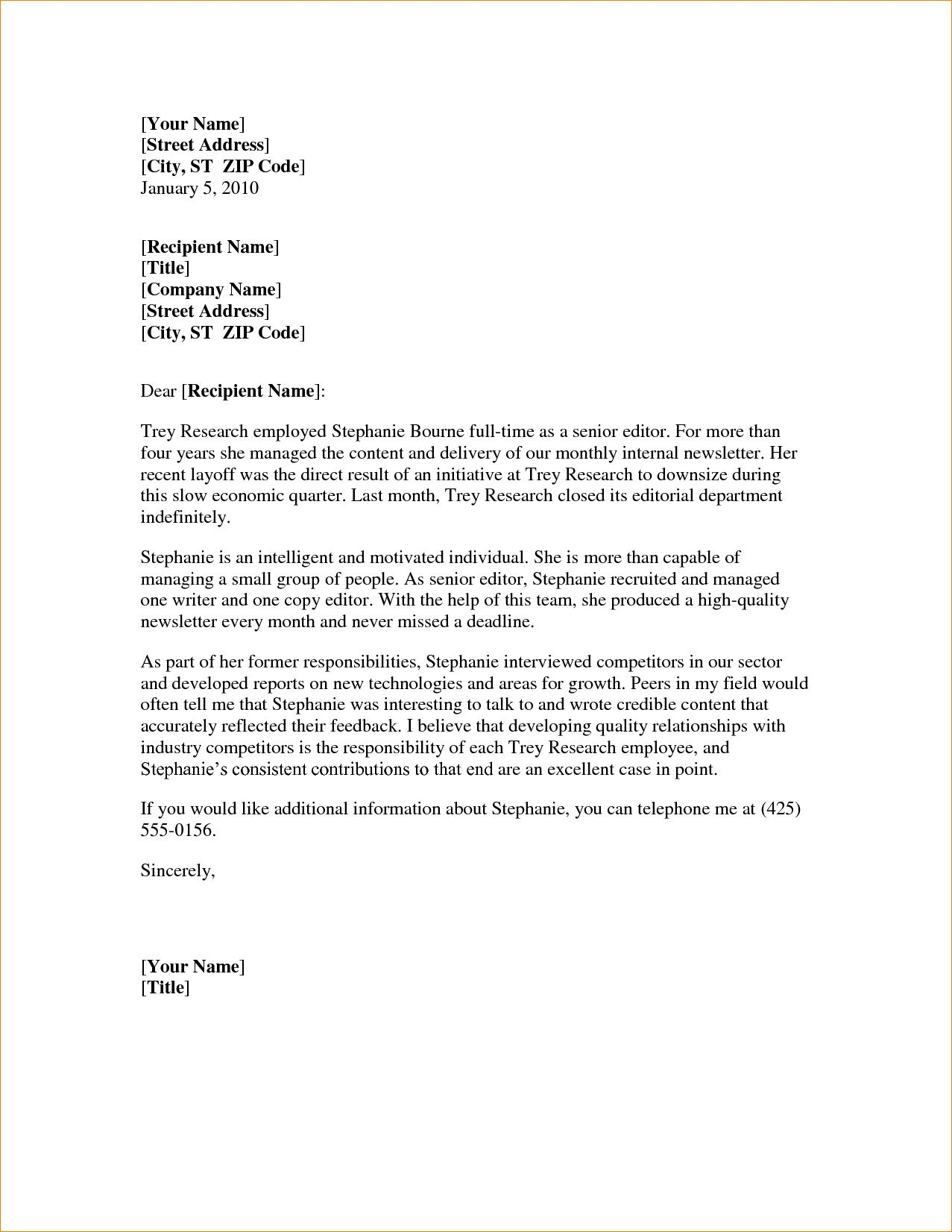 008 Excellent Letter Of Recommendation Template Word Sample  General Free DocFull