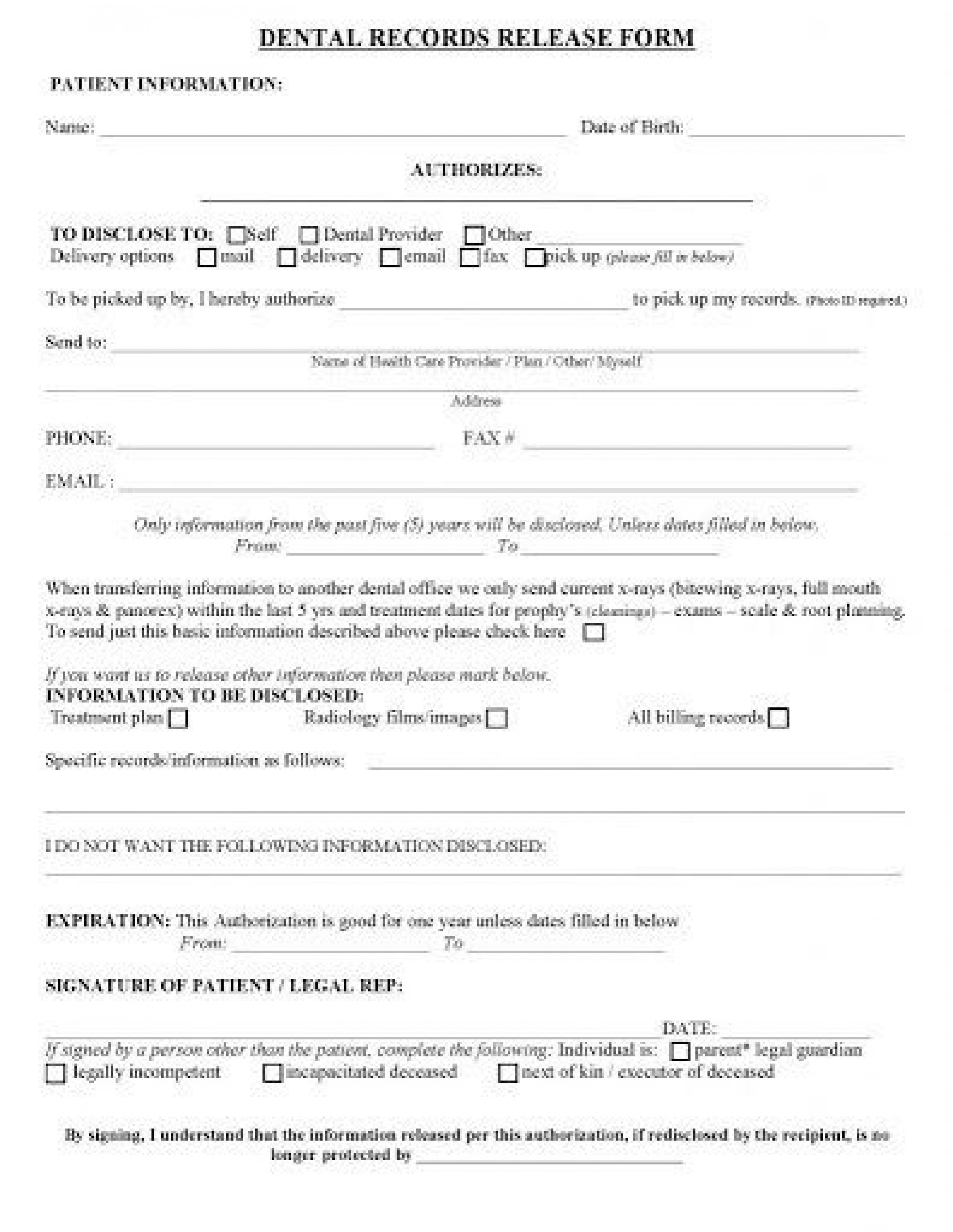 008 Excellent Medical Record Release Form Template Concept  Request Free Personal1920