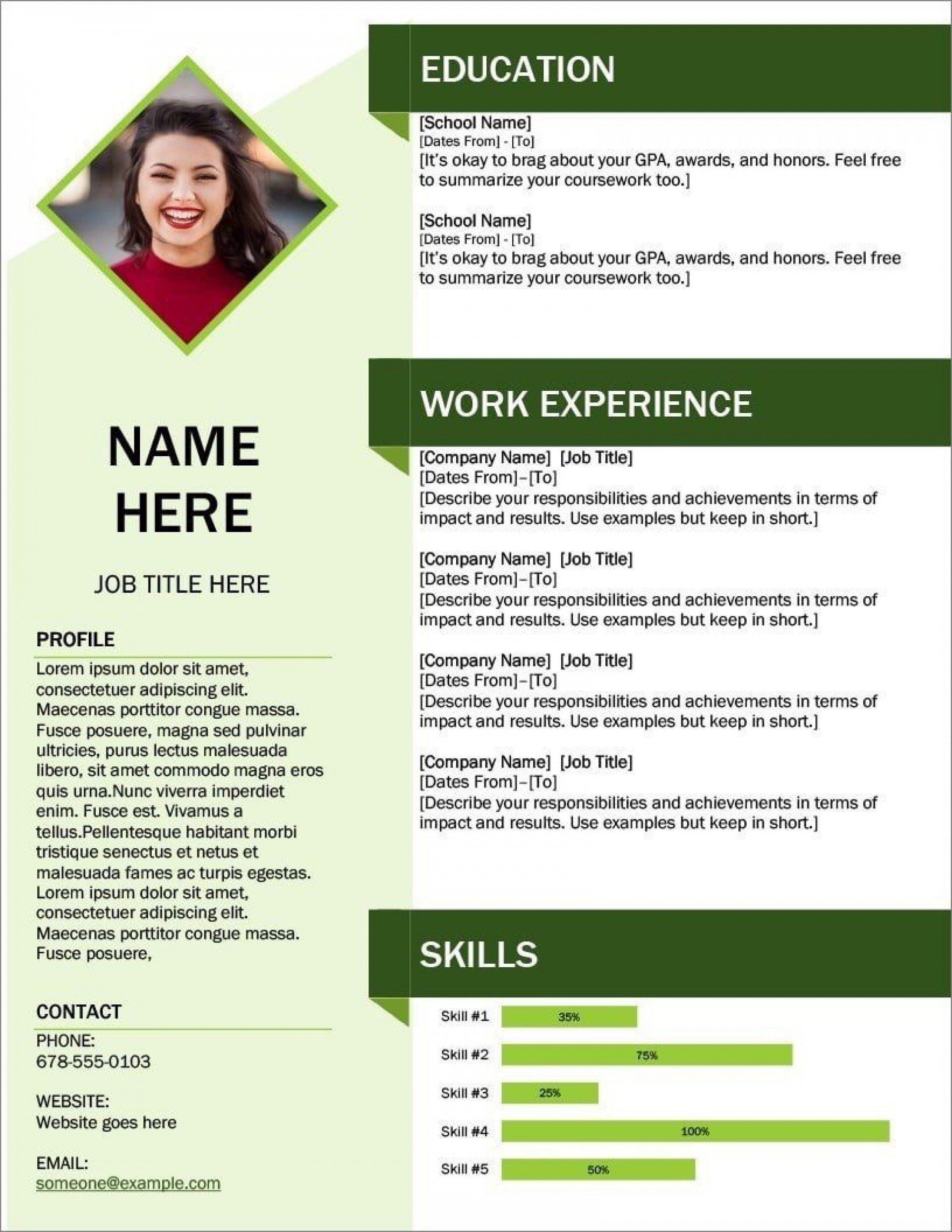 008 Excellent Modern Cv Template Word Free Download 2019 Example 1920