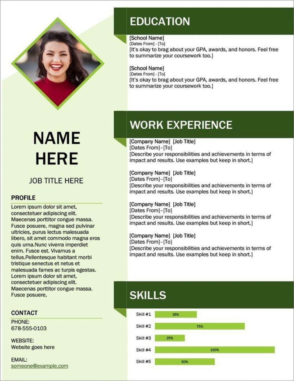 008 Excellent Modern Cv Template Word Free Download 2019 Example 960