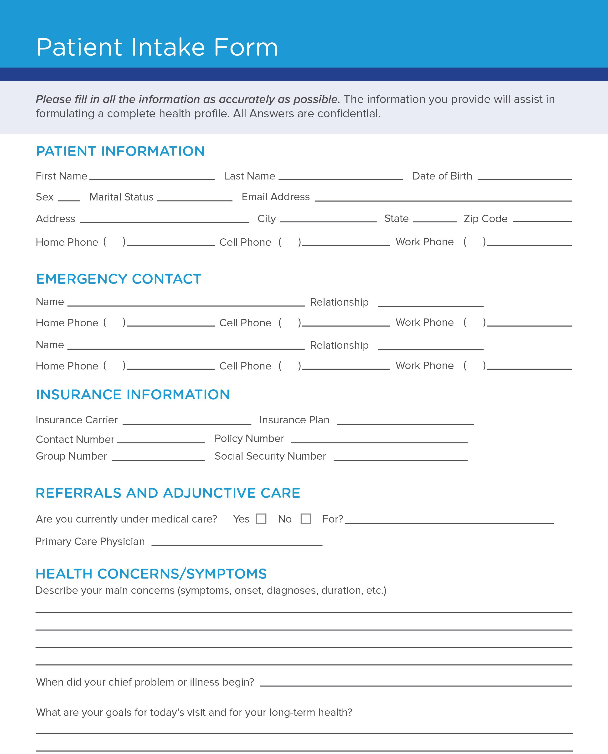008 Excellent Patient Intake Form Template Design  Word Client Excel PdfFull