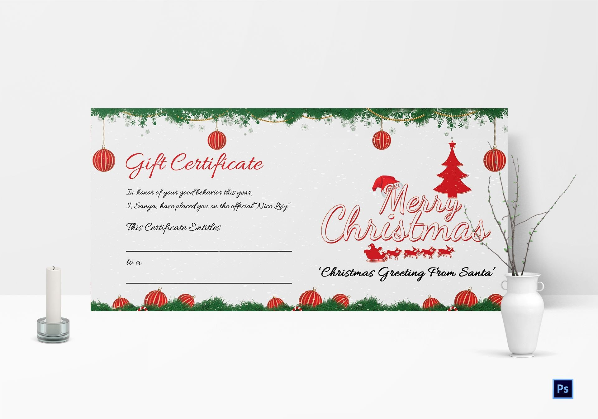008 Excellent Printable Gift Certificate Template Concept  Card Free Christma Massage1920