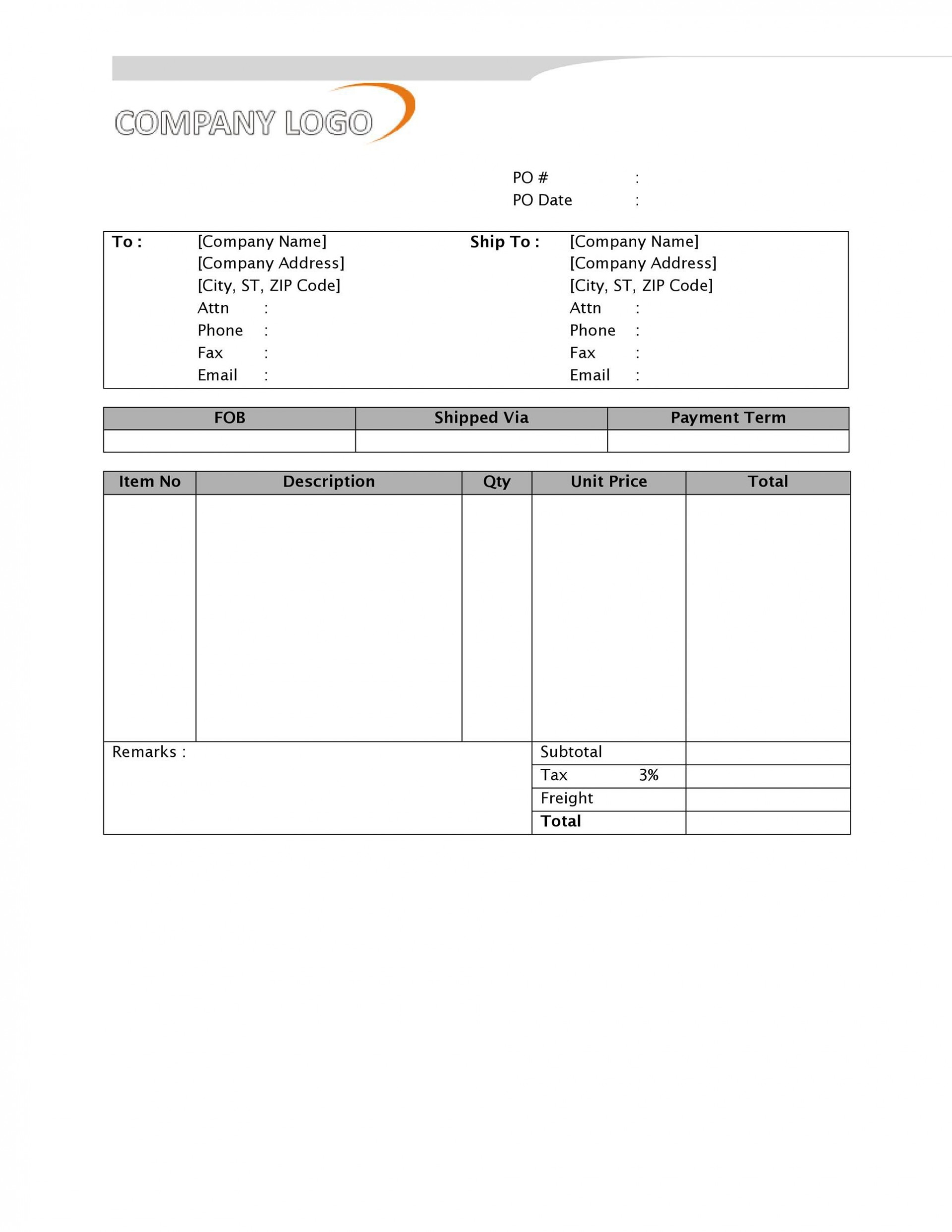 008 Excellent Purchase Order Form Template Sample  Templates Free Download Online1920