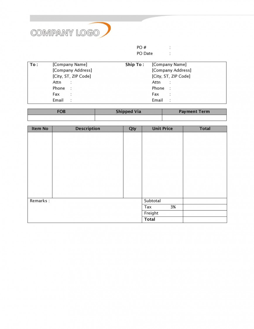 008 Excellent Purchase Order Form Template Sample  Templates Free Online Download Request