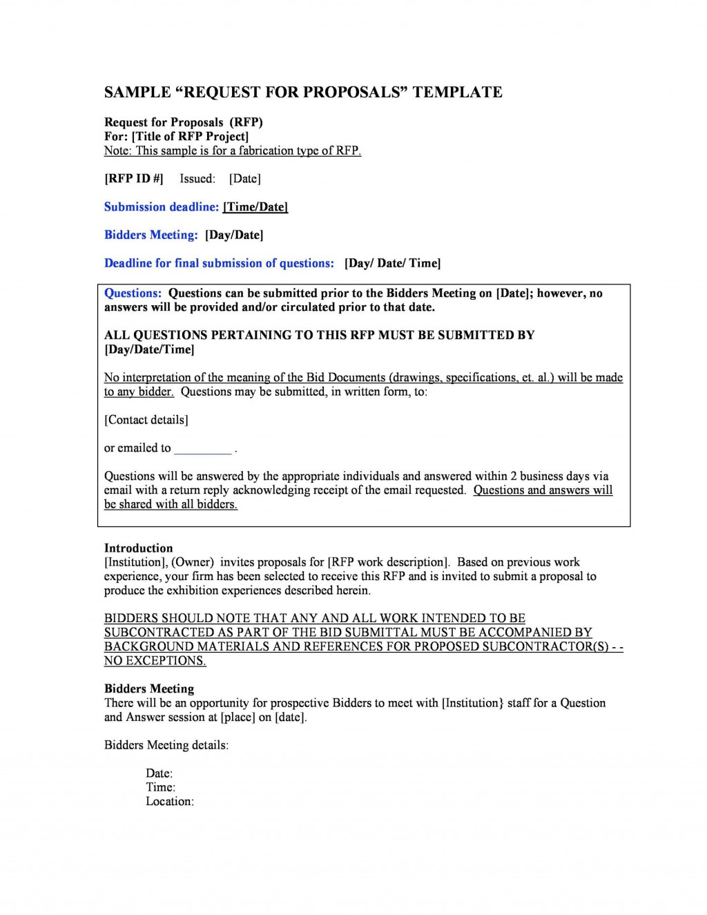 008 Excellent Request For Proposal Template Construction Concept  Rfp ResidentialLarge