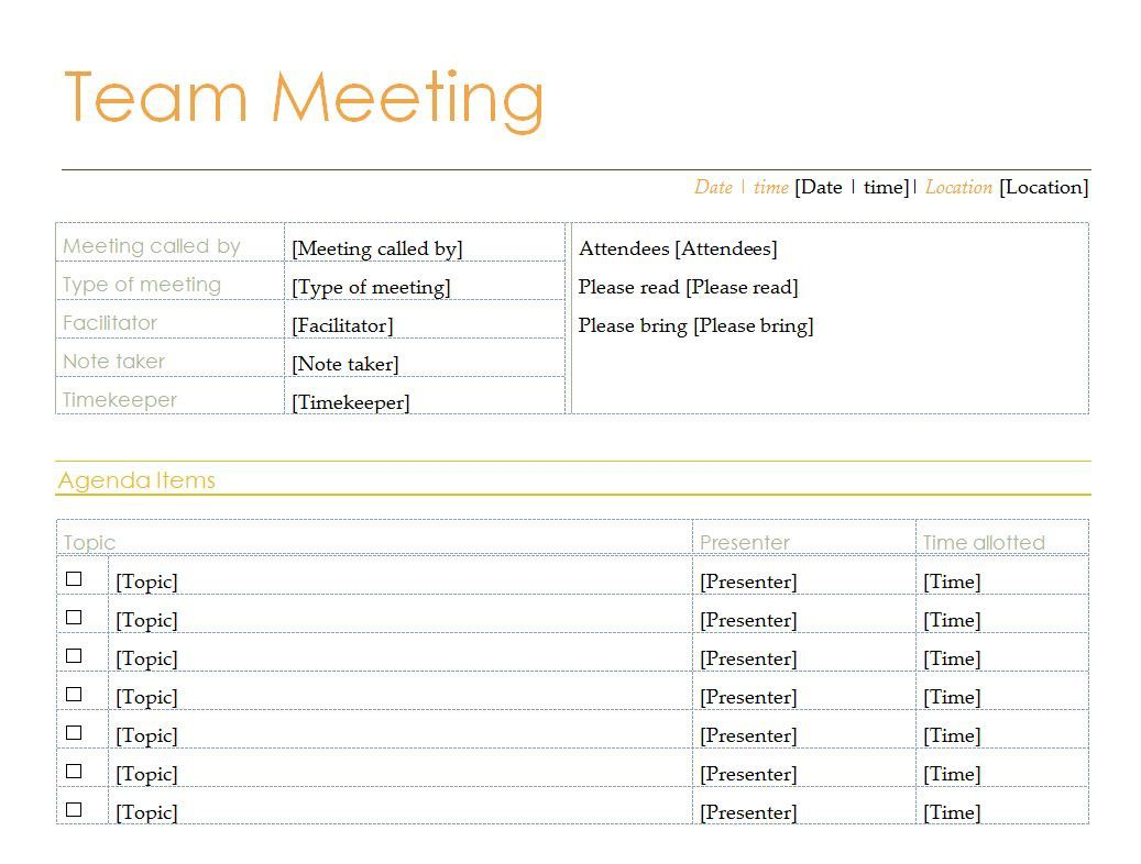 008 Excellent Team Meeting Agenda Template High Def  Word DocFull