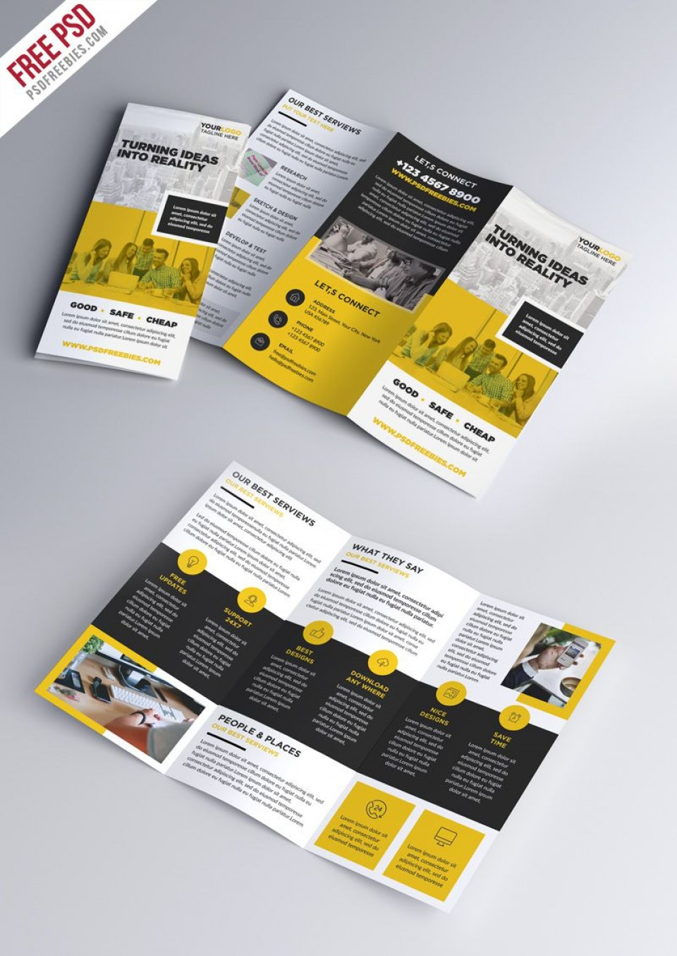 008 Excellent Three Fold Brochure Template Psd Photo  Free 3 A4 Tri Download960