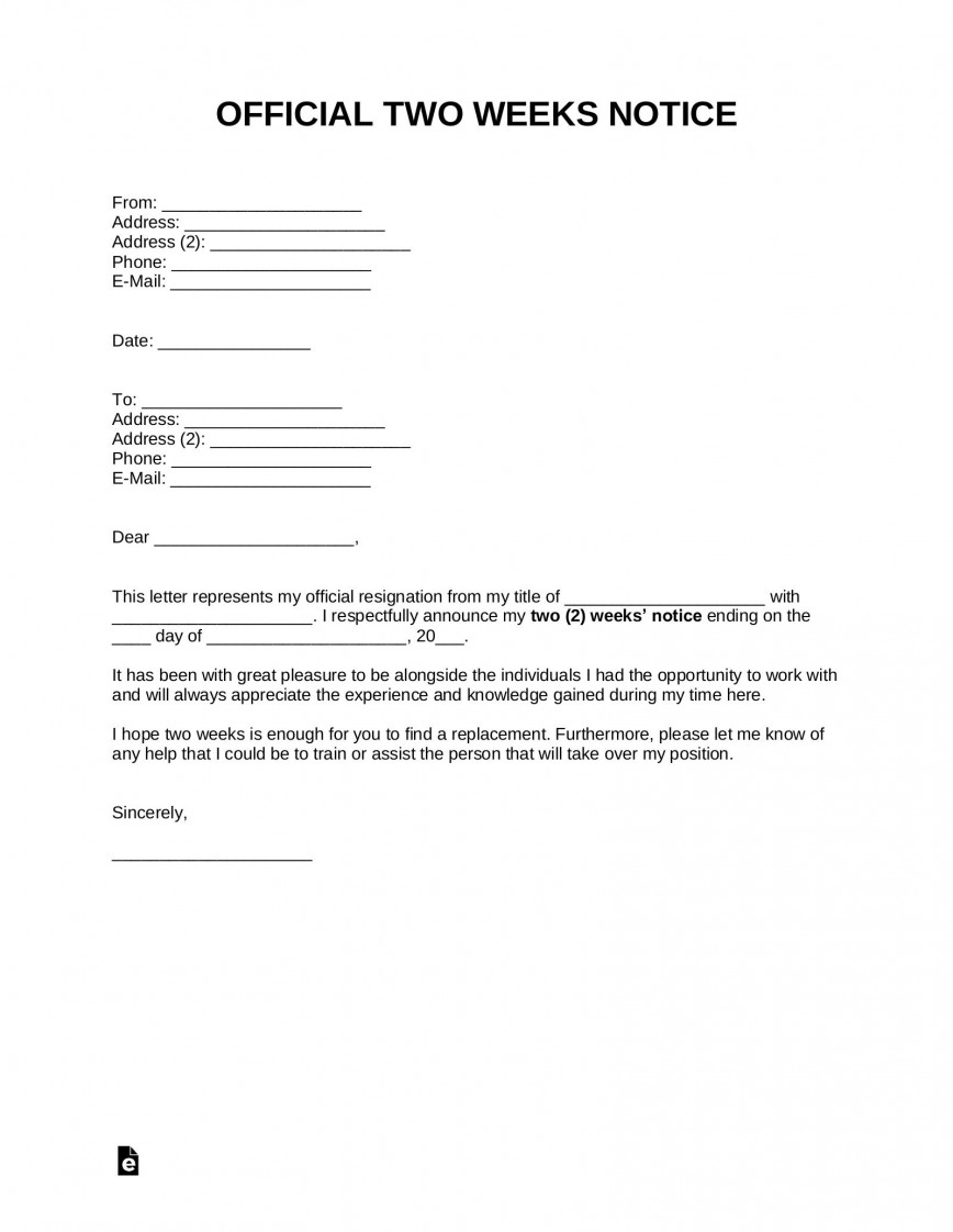 008 Excellent Two Week Notice Letter Template Image  Free 2 Word