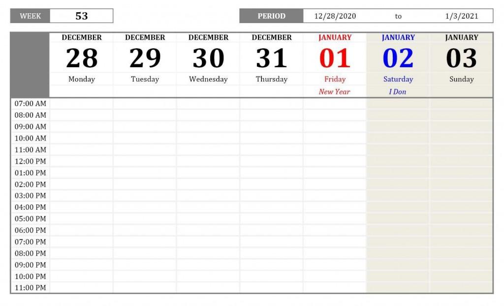 008 Exceptional 52 Week Calendar Template Excel Sample  2020 2019 2021Large