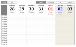 008 Exceptional 52 Week Calendar Template Excel Sample  2020 2019 2021