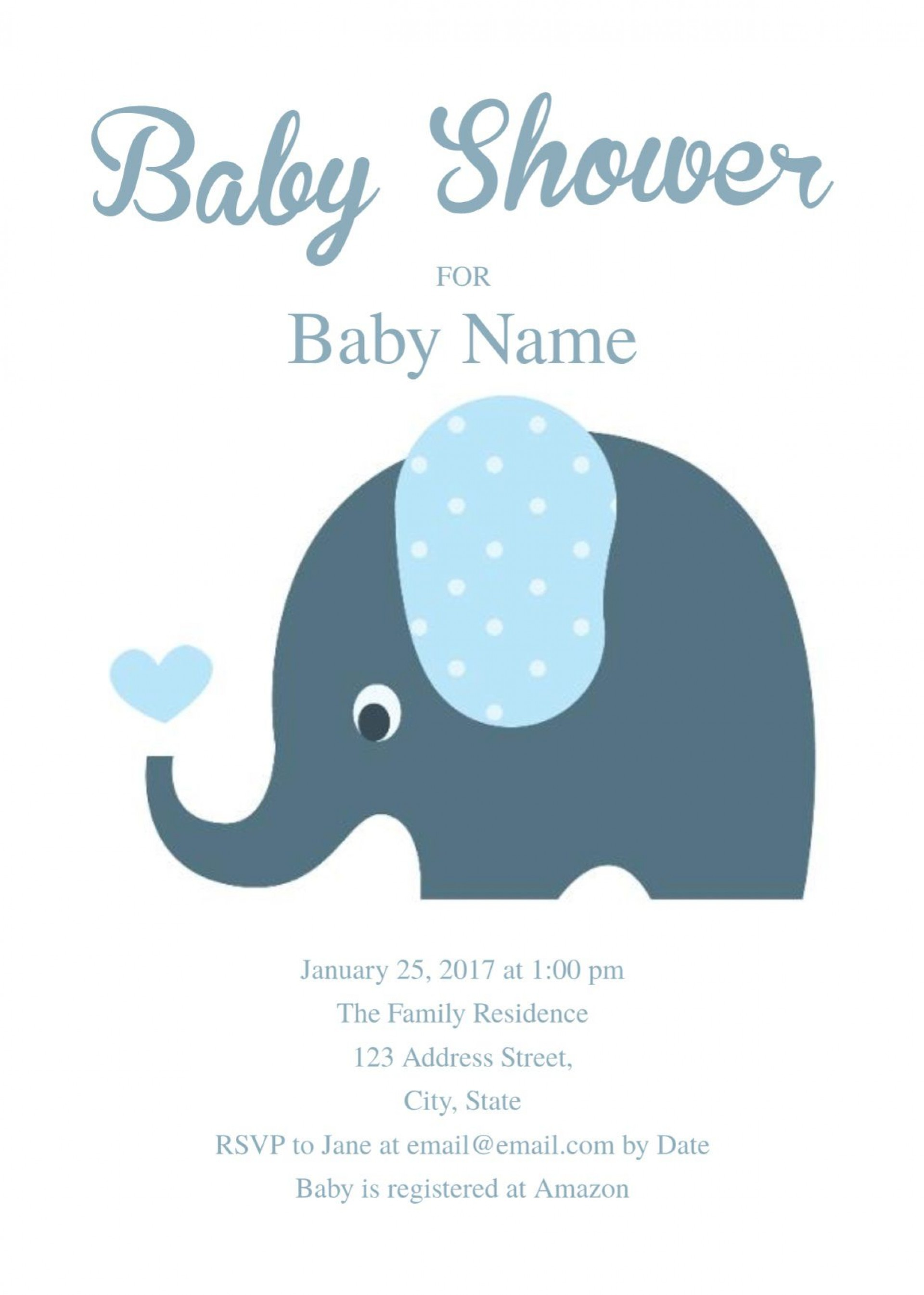 008 Exceptional Elephant Baby Shower Invitation Template Photo  Templates Free Pdf Boy1920