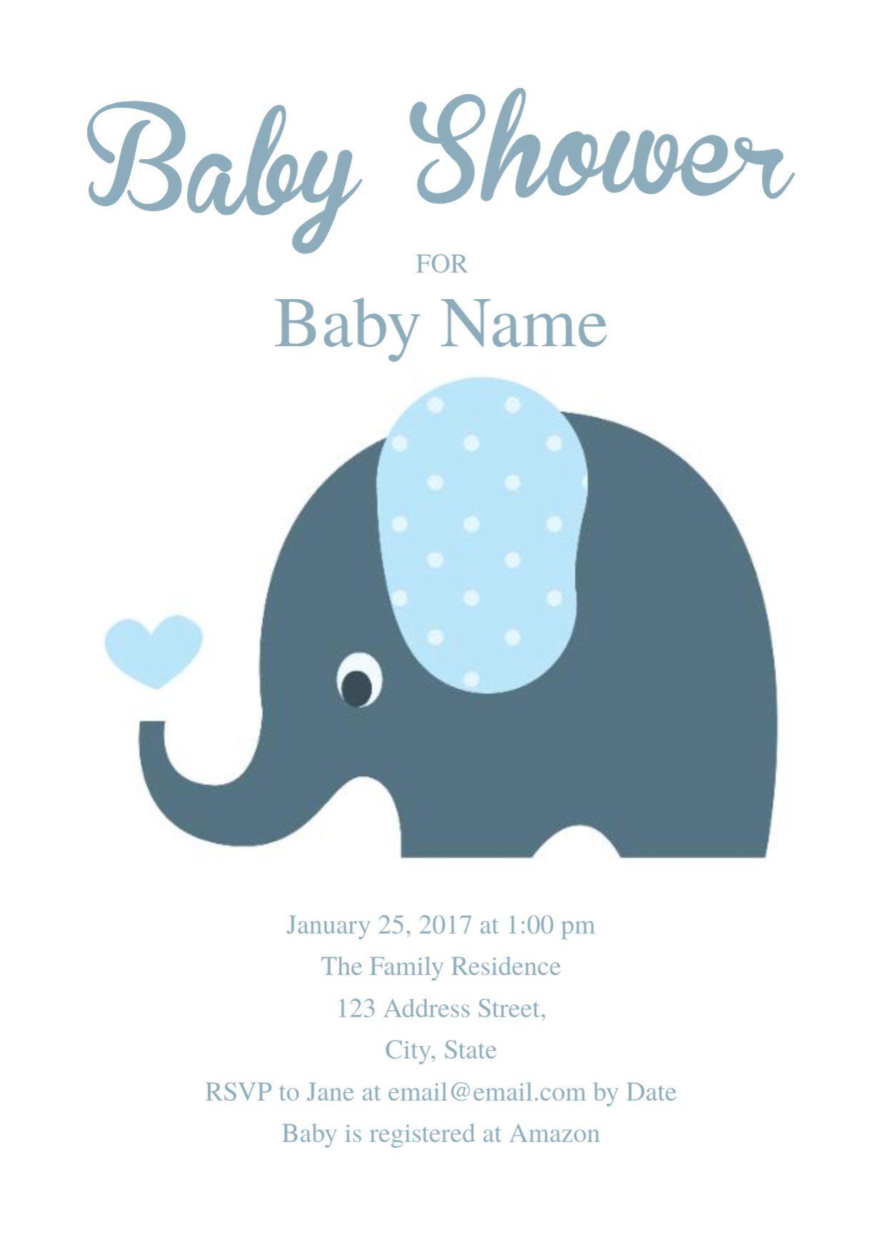 008 Exceptional Elephant Baby Shower Invitation Template Photo  Templates Free Pdf BoyFull