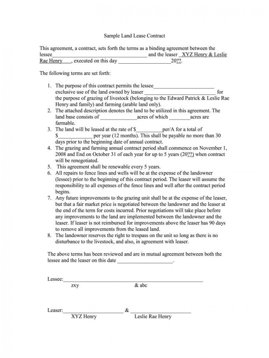 008 Exceptional Land Lease Agreement Template Photo  Templates Free Nz Form Kenya Pdf Uk