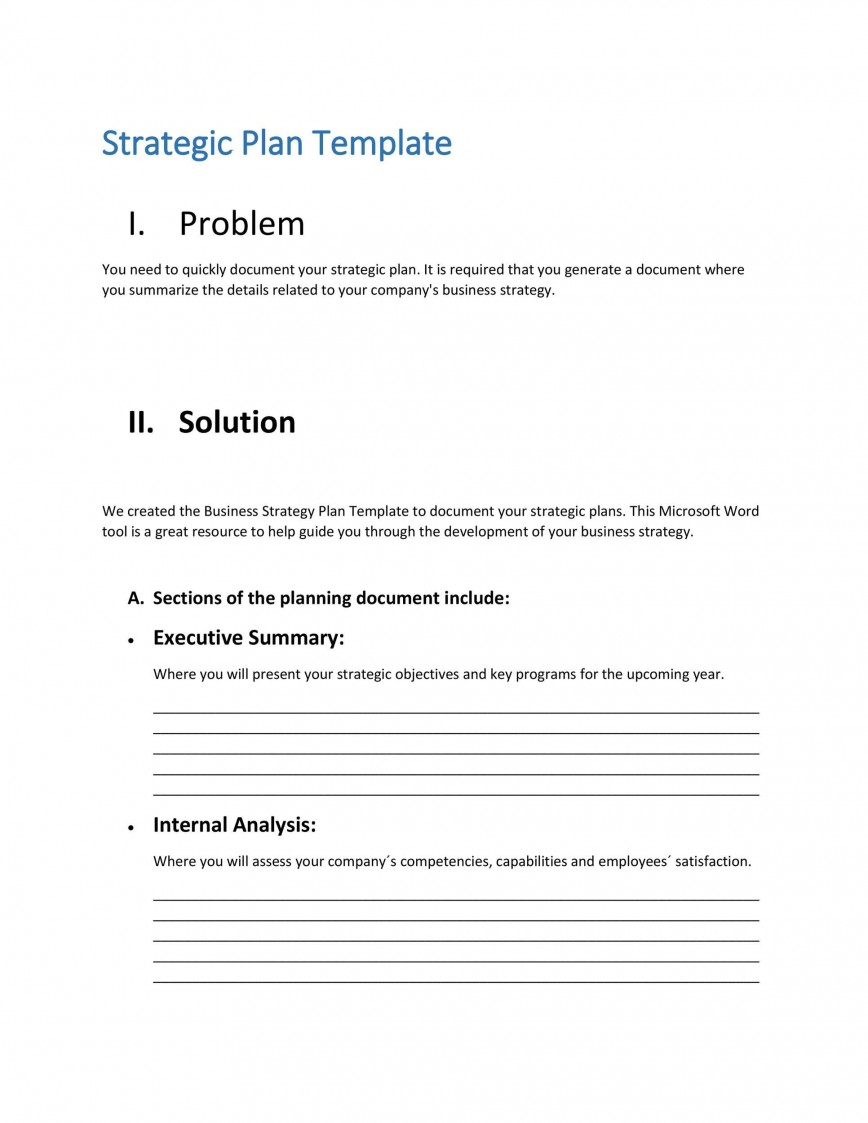 008 Exceptional Strategic Plan Outline Template High Definition  Marketing