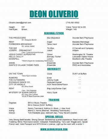 008 Exceptional Technical Theatre Resume Template Example  Google Doc Tech360