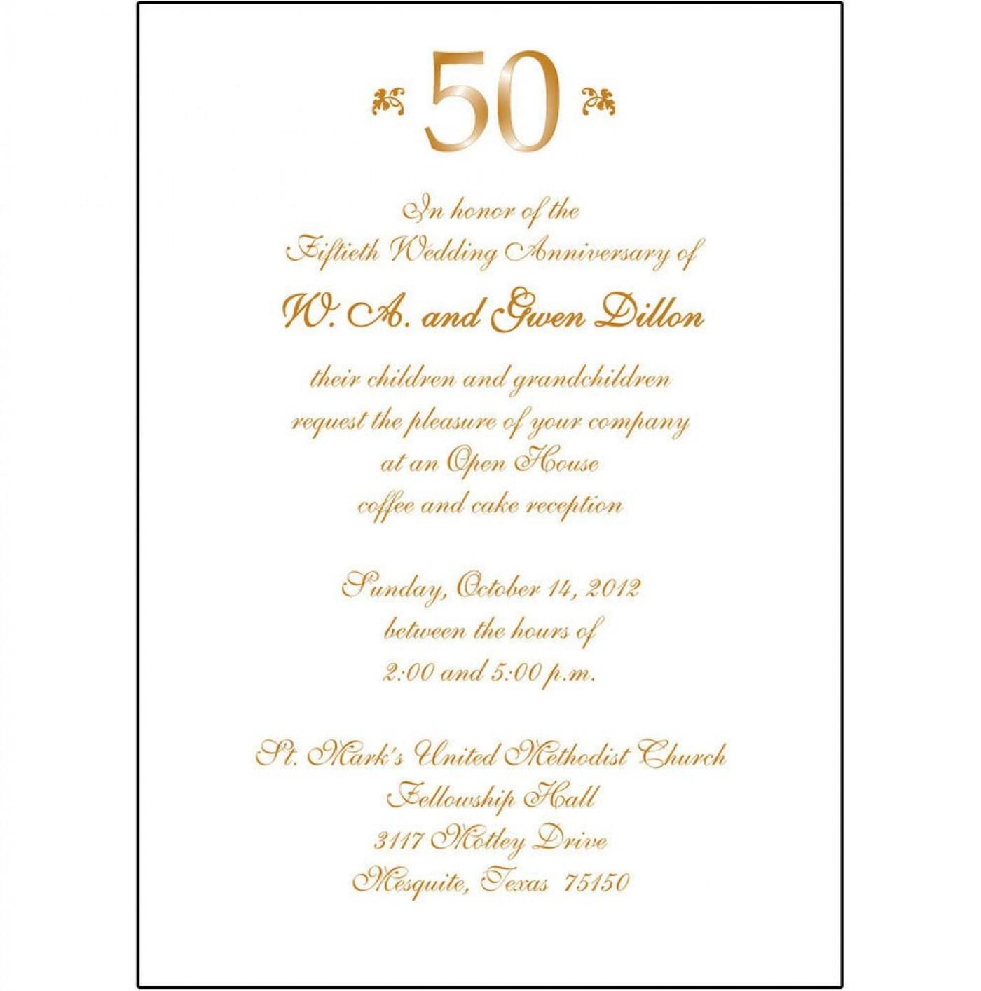 008 Fantastic 50th Anniversary Invitation Wording Sample Inspiration  Wedding 60th In Tamil Birthday1400