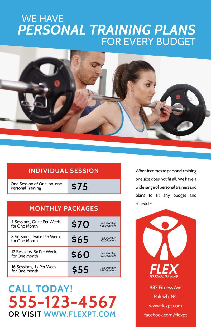 008 Fantastic Personal Trainer Flyer Template Example  Word PsdFull