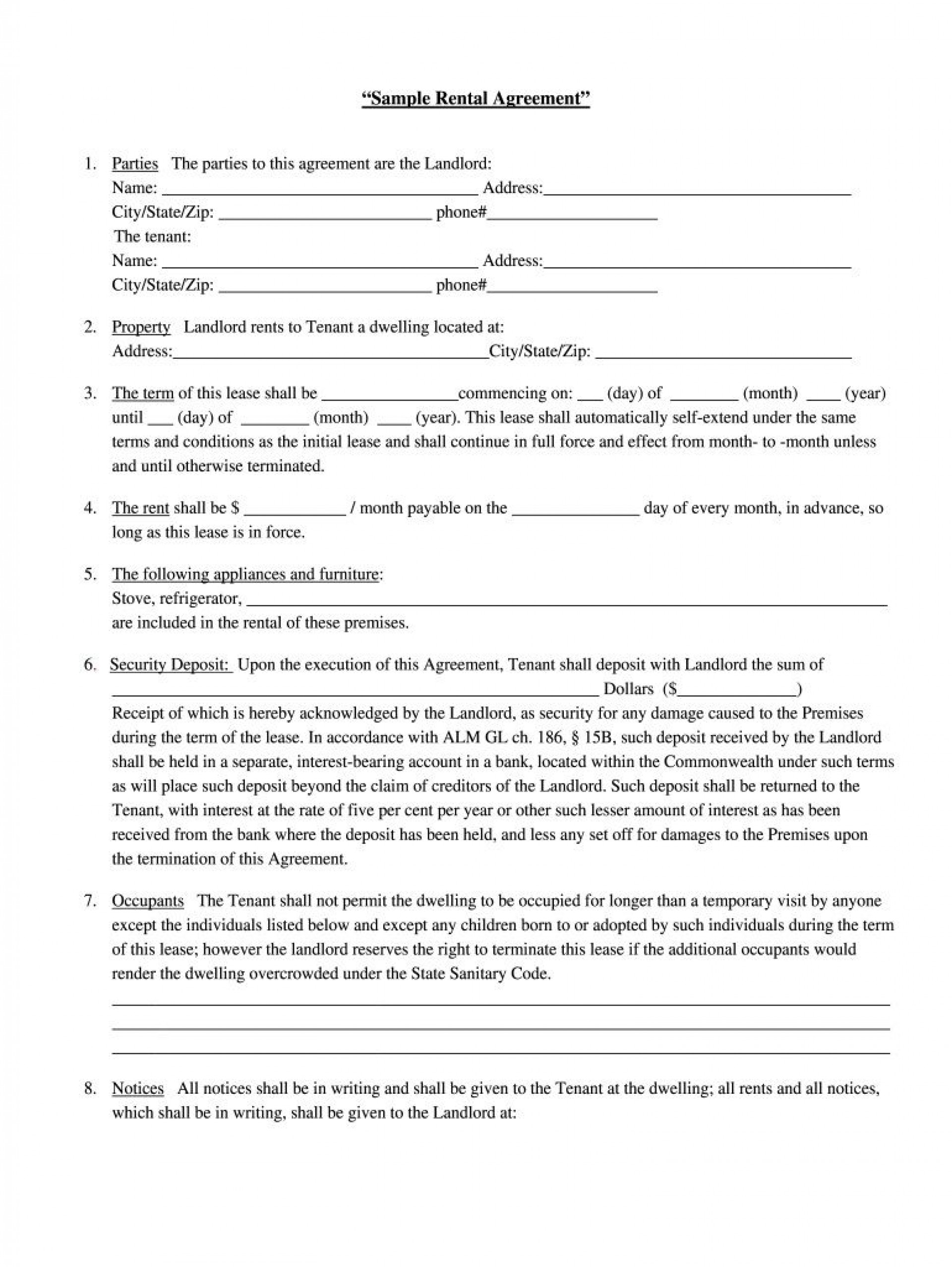 008 Fantastic Rental Agreement Template Free Picture  Lease Format Bangalore Download Word South Africa Room Doc1920