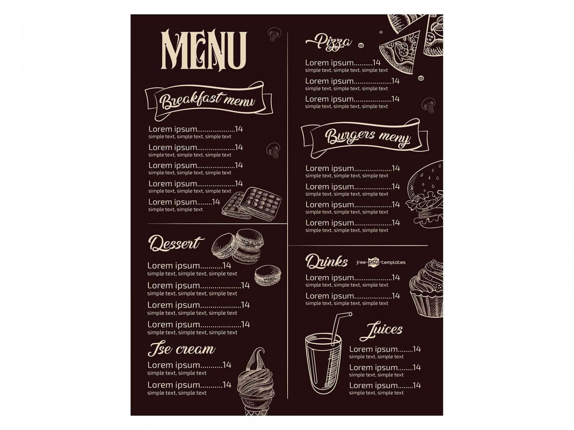 008 Fantastic Restaurant Menu Template Free Download Psd High Resolution  Design1920