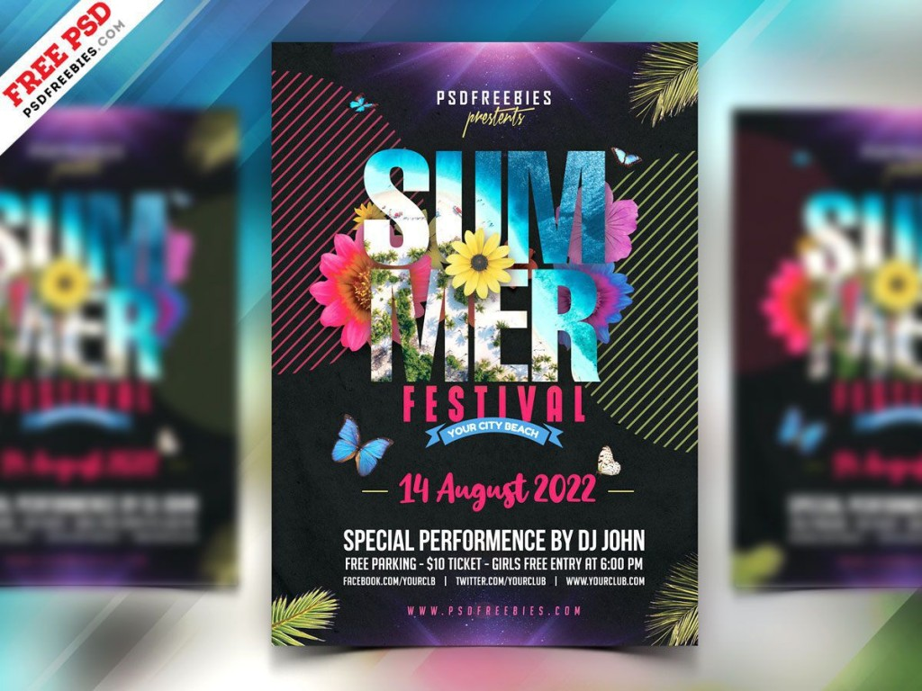 008 Fantastic Summer Party Flyer Template Free Download Picture Large