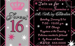 008 Fantastic Sweet 16 Invite Template Highest Clarity  Templates Surprise Party Invitation Birthday Free 16th