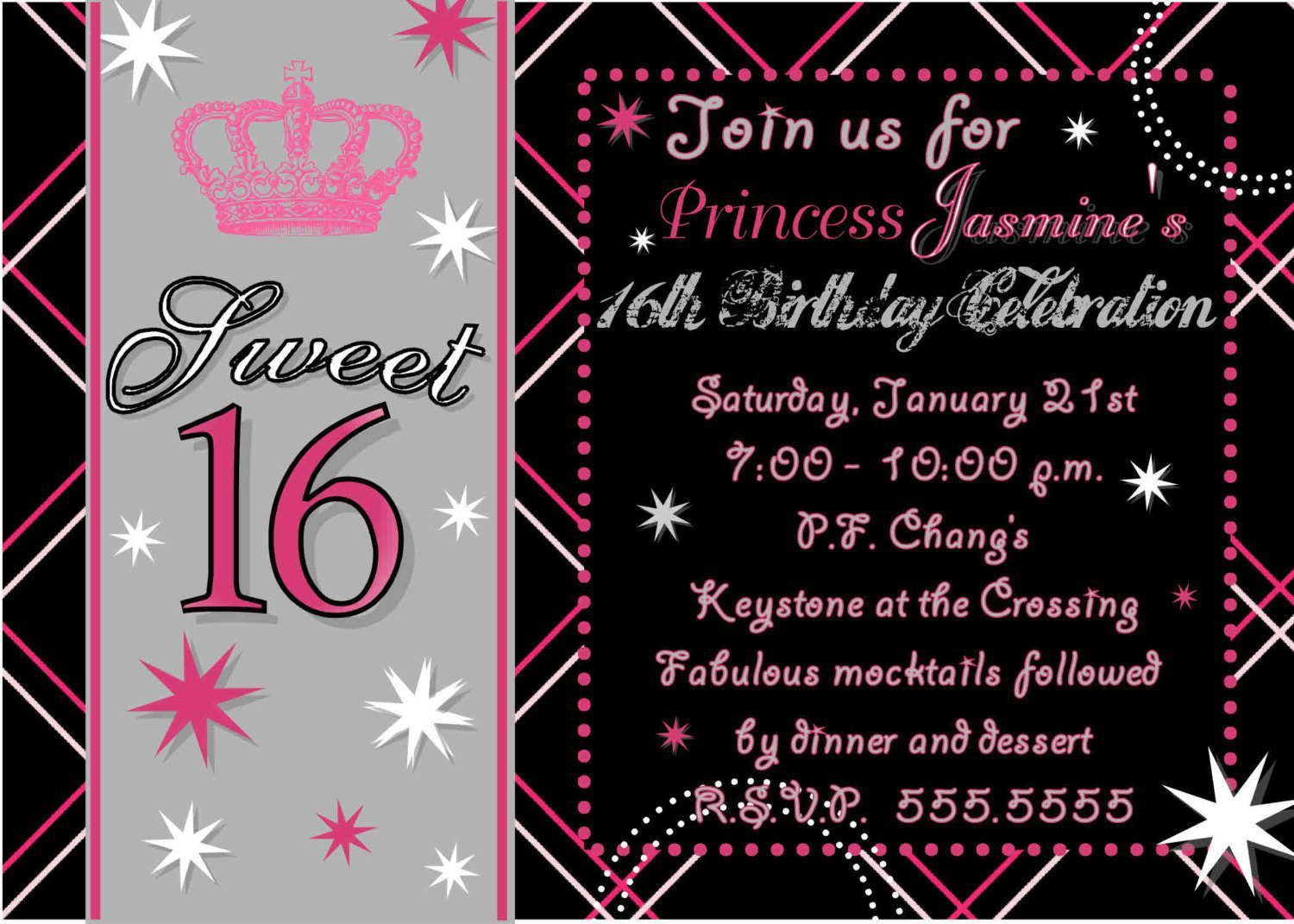 008 Fantastic Sweet 16 Invite Template Highest Clarity  Templates Surprise Party Invitation Birthday Free 16thFull