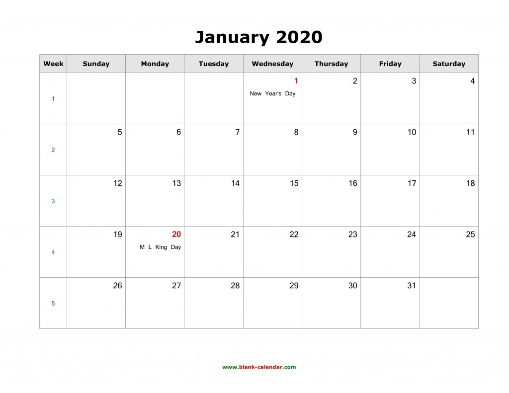 008 Fascinating 2020 Blank Calendar Template High Def  Printable Monthly Word Downloadable With HolidayLarge