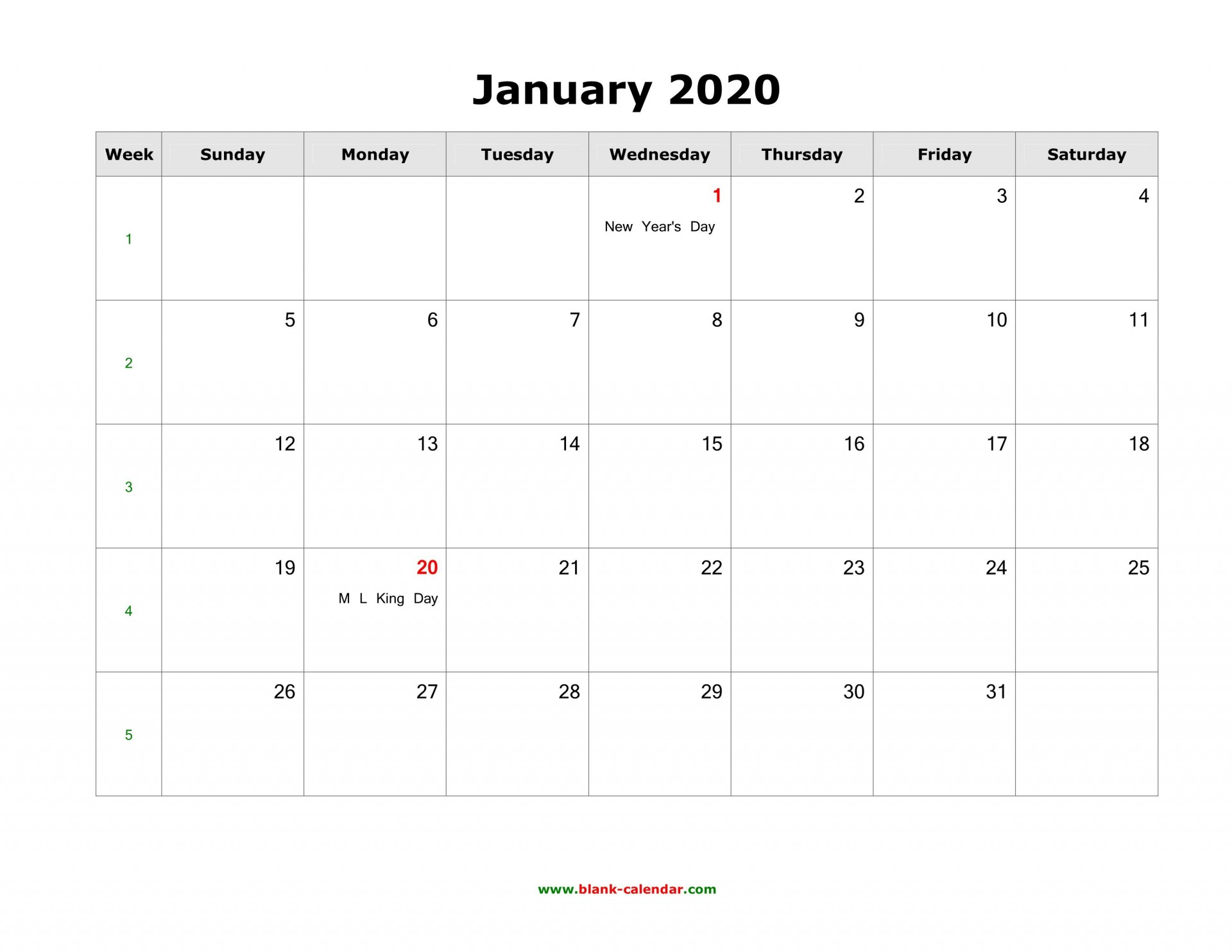 008 Fascinating 2020 Blank Calendar Template High Def  Printable Monthly Word Downloadable With Holiday1920