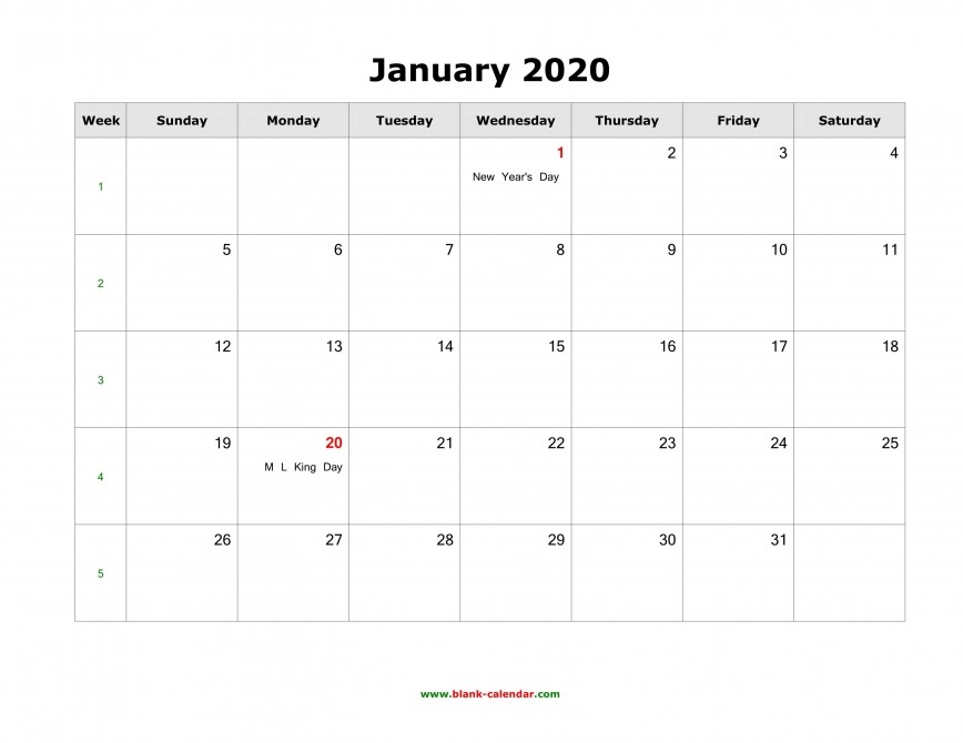 008 Fascinating 2020 Blank Calendar Template High Def  Downloadable With Holiday Word