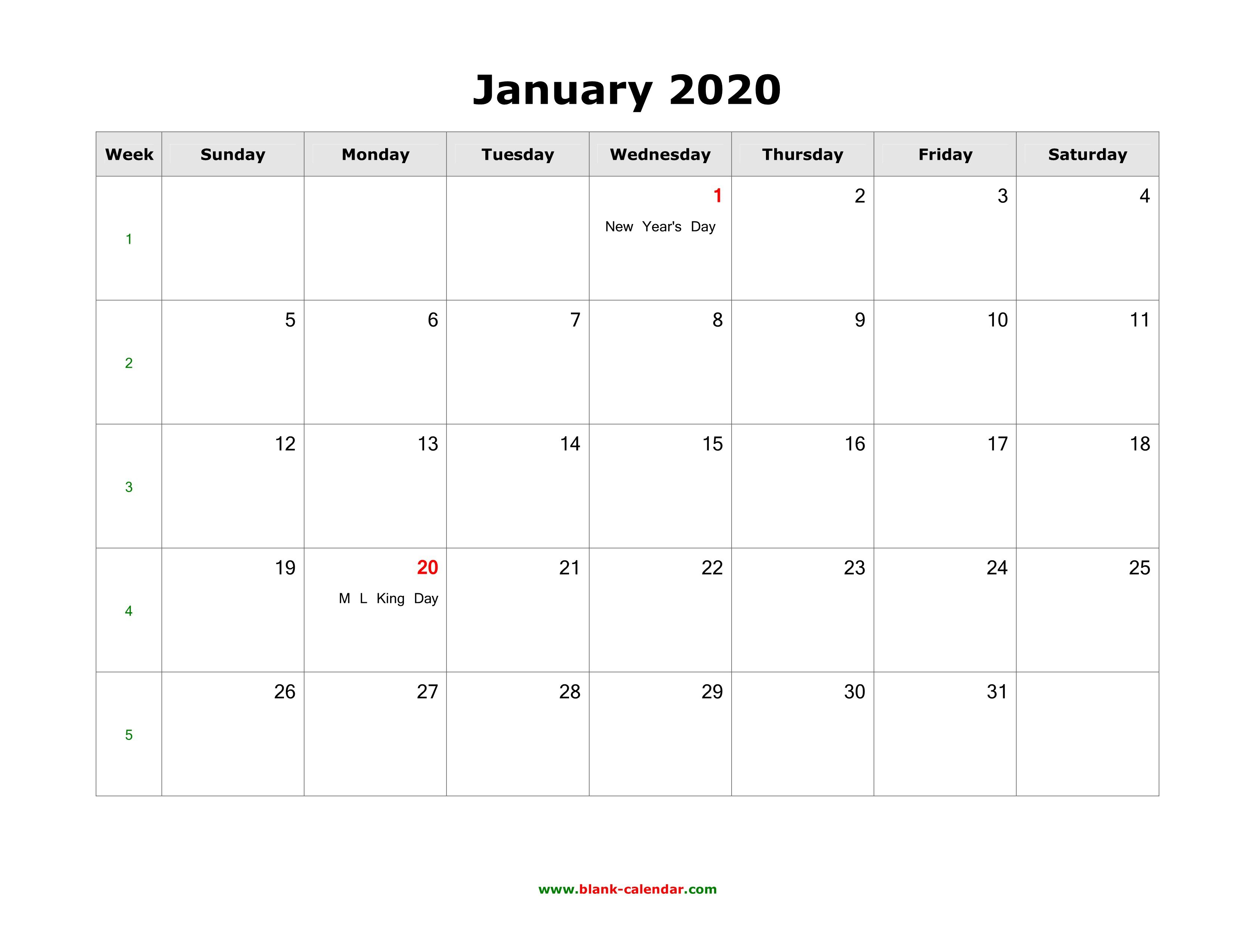 008 Fascinating 2020 Blank Calendar Template High Def  Printable Monthly Word Downloadable With HolidayFull