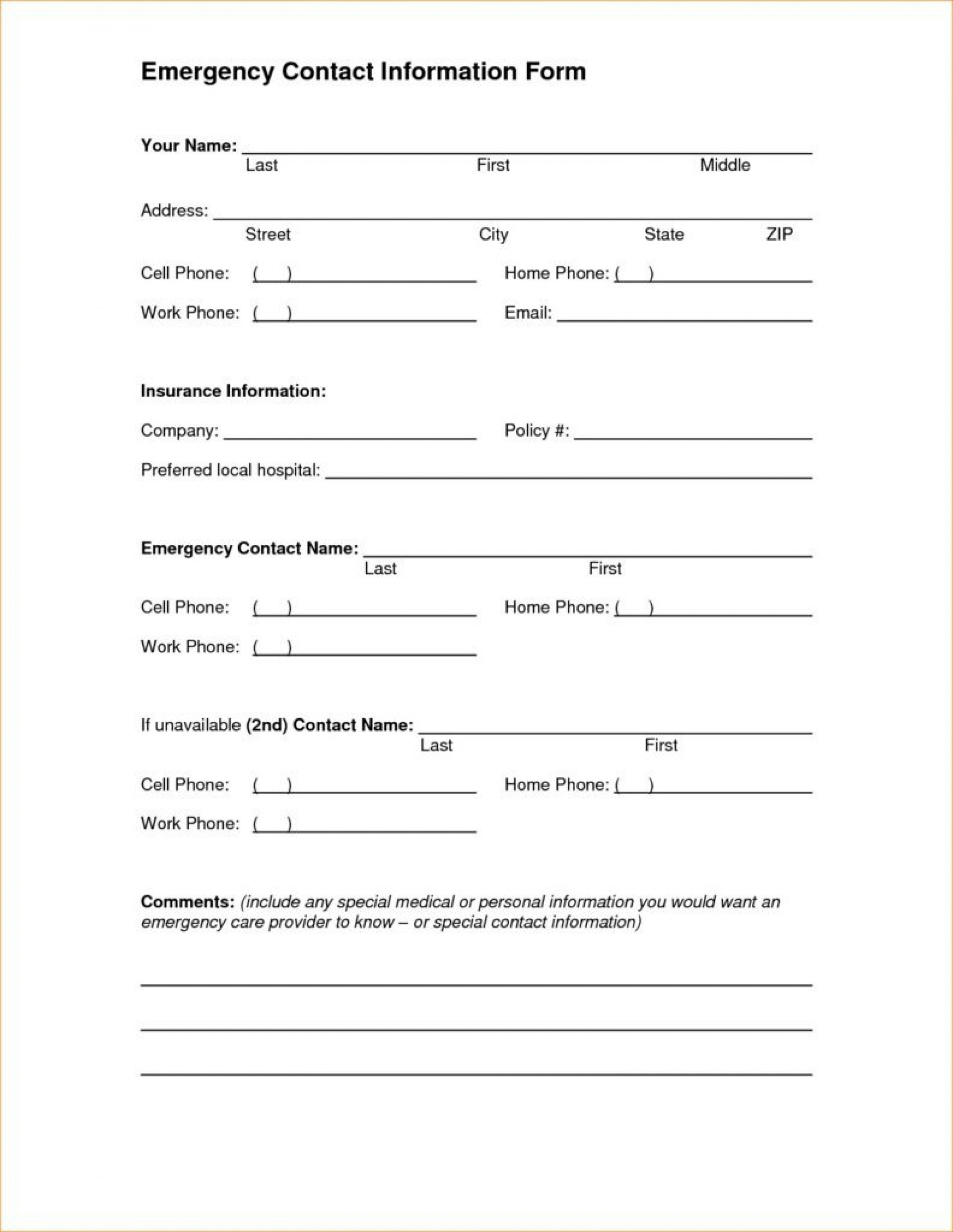 Emergency Contact Form Templates Addictionary