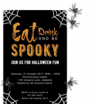 008 Fascinating Free Halloween Party Invitation Template Sample  Printable Birthday For Word Download320