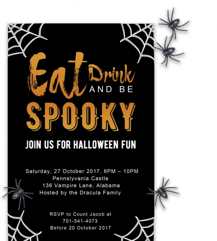 008 Fascinating Free Halloween Party Invitation Template Sample  Printable Birthday For Word Download728