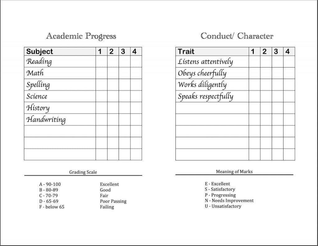 homeschool report card template free  addictionary
